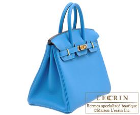 Hermes Birkin bag 25 Blue zanzibar Togo leather Gold hardware