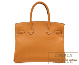 Hermes Birkin bag 30 Toffee Clemence leather Gold hardware