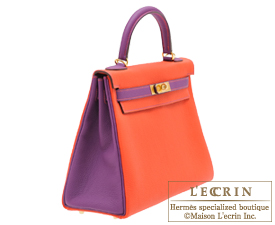 Hermes Personal Kelly bag 32 Capucine/Anemone Togo leather Gold hardware