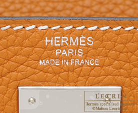 Hermes Kelly bag 28 Toffee Clemence leather Silver hardware