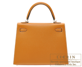 Hermes Kelly bag 25 Toffee Epsom leather Silver hardware