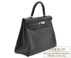 Hermes Kelly bag 35 Black/Capucine Togo leather Silver hardware