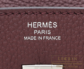 Hermes Birkin bag 25 Bordeaux Togo leather Silver hardware