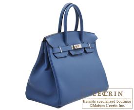 Hermes Birkin bag 35 Blue agate Clemence leather Silver hardware