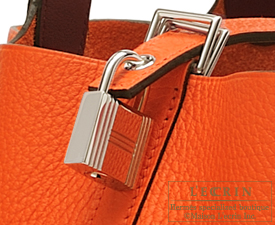 Hermes Picotin Lock Eclat bag MM Orange poppy/Bordeaux Clemence leather/Swift leather Silver hardware