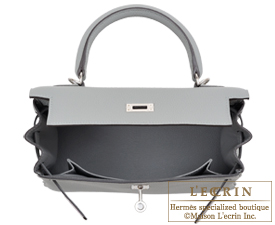 Hermes Kelly bag 25 Gris mouette Togo leather Silver hardware