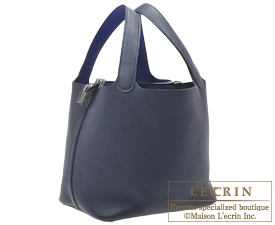 Hermes Picotin Lock Eclat bag MM Blue nuit/Blue electric Clemence leather/Swift leather Silver hardware