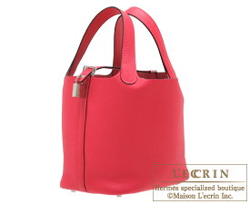 Hermes Picotin Lock bag PM Rose extreme Clemence leather Silver hardware