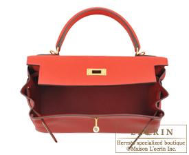 Hermes Kelly bag 28 Geranium Togo leather Gold hardware
