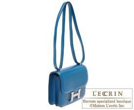 Hermes Constance mini Blue izmir Tadelakt leather Silver hardware