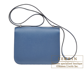 Hermes Constance mini Verso Blue agate/Gris mouette Epsom leather Silver hardware