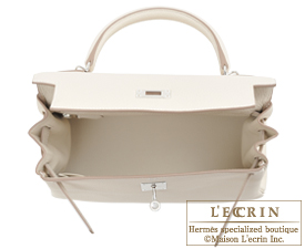 Hermes Kelly bag 28 Craie Clemence leather Silver hardware
