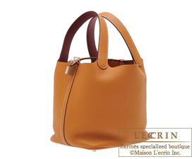 17bab513672a ... Hermes Picotin Lock Eclat bag MM Toffee Bordeaux Clemence leather Swift  leather Silver hardware