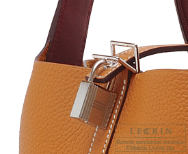 Hermes Picotin Lock Eclat bag MM Toffee/Bordeaux Clemence leather/Swift leather Silver hardware