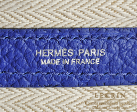 Hermes Garden Party bag TPM Blue electric Country leather Silver hardware