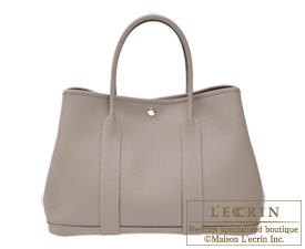 Hermes Garden Party bag PM Gris asphalt Country leather Silver hardware