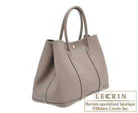 Hermes Garden Party bag PM Gris asphalt Country leather Silver hardware