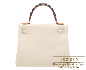 Hermes Kelly Au Galop bag 28 Retourne Craie/Rouge H/Fauve/Black Togo leather/Sombrero leather/Barenia leather/Swift leather Silver hardware