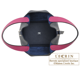 Hermes Picotin Lock Eclat bag PM Blue nuit/Rose purple Clemence leather/Swift leather Silver hardware