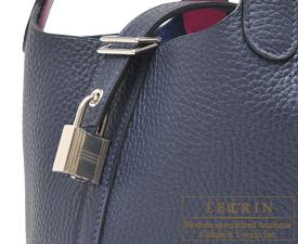 1b36e02e635d ... Hermes Picotin Lock Eclat bag PM Blue nuit Rose purple Clemence  leather Swift leather
