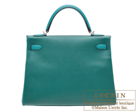 Hermes Personal Kelly bag 32 Malachite/Blue paon Epsom leather Matt silver hardware