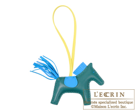Hermes Rodeo charm Malachite/Blue zanzibar Agneau