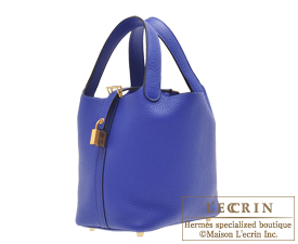 Hermes Picotin Lock bag PM Blue electric Clemence leather Gold hardware