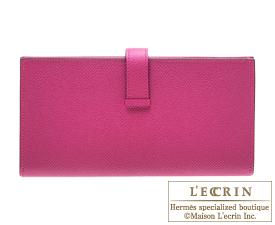 Hermes Bearn Soufflet Rose purple Epsom leather Silver hardware