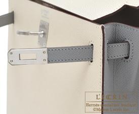 Hermes Personal Kelly bag 25 Craie/Gris mouette Epsom leather Matt silver hardware