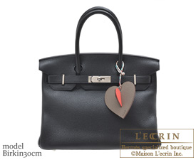 Hermes Petit H W Heart Red/Gray Calf/Silk