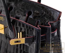 Hermes Birkin Contour bag 25 Blue marine/Rouge H Niloticus crocodile skin Gold hardware