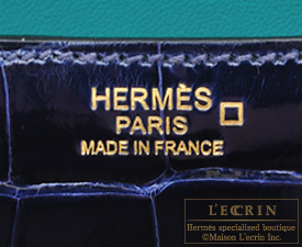 Hermes Constance Verso 24 Blue saphir/Blue paon Alligator crocodile skin Gold hardware