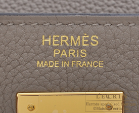 Hermes Kelly bag 32 Gris asphalt Togo leather Gold hardware