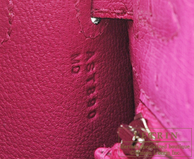 Hermes Kelly bag 25 Rose purple Ostrich leather Silver hardware