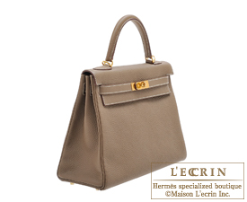 Hermes Kelly bag 32 Etoup grey Clemence leather Gold hardware