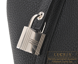 Hermes Picotin Lock Touch bag MM Black Clemence leather/Matt alligator crocodile skin Silver hardware