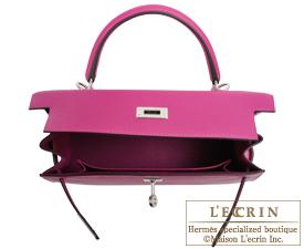 Hermes Kelly bag 25 Rose purple Epsom leather Silver hardware
