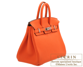 Hermes Birkin bag 25 Orange poppy Togo leather Silver hardware