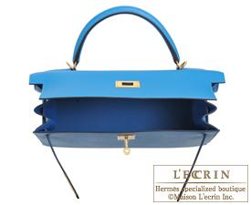 Hermes Kelly bag 32 Blue zanzibar Epsom leather Gold hardware