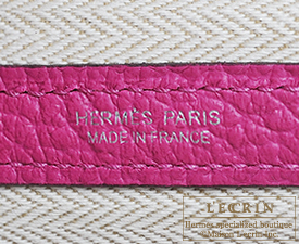 Hermes Garden Party bag PM Rose purple Country leather Silver hardware