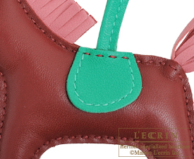 Hermes Rodeo charm Rouge H/Rose indien Agneau