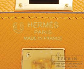 Hermes Personal Kelly bag 25 Jaune d'or/Etoupe grey Epsom leather Gold hardware