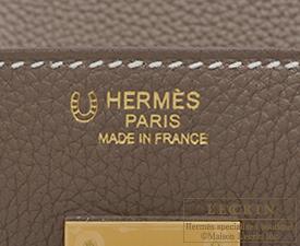 Hermes Birkin bag 30 Etoupe grey/Craie Togo leather Matt gold hardware