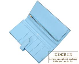 Hermes Bearn Soufflet Celeste/Celeste blue Epsom leather Silver hardware