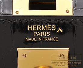 Hermes Kelly bag 32 Black Porosus crocodile skin Gold hardware