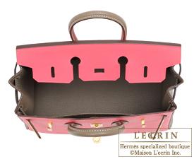 Hermes Birkin bag 25 Rose azalee/Etoupe grey Epsom leather Gold hardware