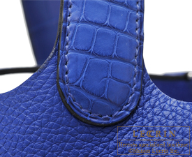 Hermes Picotin Lock Touch bag MM Blue electric Clemence leather/Matt alligator crocodile skin Silver hardware