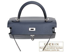 Hermes Kelly bag 25 Blue indigo Epsom leather Silver hardware