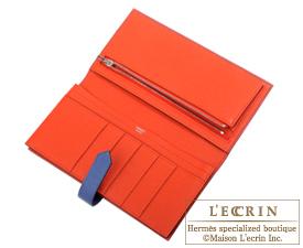 Hermes Bearn Soufflet Verso Blue brighton/Capucine Epsom leather Silver hardware