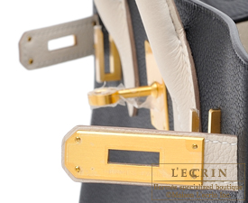 Hermes Birkin bag 30 Black/Craie Togo leather Matt gold hardware